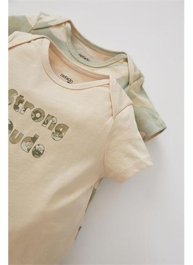DeFacto Erkek Bebek Kamuflaj Desenli Kısa Kollu 2'li Pamuklu Çıtçıtlı Tulum Turkuaz